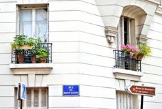 Montmarte Street. Capturing the beauty of the buildings and balconies in Paris Stock Photos