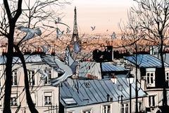 Montmartre στο Παρίσι απεικόνιση αποθεμάτων