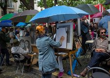 Montmartre artists square Stock Image