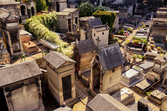 Montmartre Cemetery in Paris. PARIS - SEPTEMBER 24, 2013: Montmartre Cemetery. Montmartre cemetery is known there are ancient cemetery that attracts many Royalty Free Stock Photography