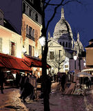 Montmartre in de winter Stock Afbeelding