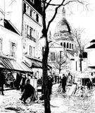 Montmartre en invierno stock de ilustración