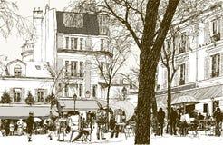 Montmartre en París bajo nieve libre illustration