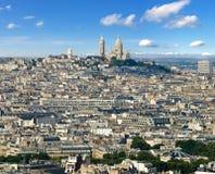 Montmartre från Eiffel står hög Royaltyfri Foto