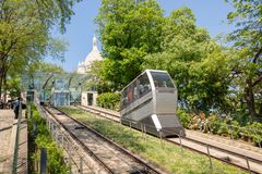 Montmartre funicular on the hill to the basilica of the Sacred Heart, Paris France. Montmartre funicular on the hill to the basilica of the Sacred Heart, Paris Stock Image