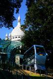 Montmartre Funicular Railway below the Sacre Coeur Stock Photo