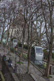 Montmartre funicular trams Stock Image