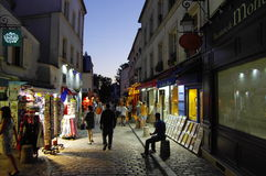 Montmartre hill in the evenin, Paris, France. Stock Photos