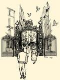 Montmartre i Paris stock illustrationer