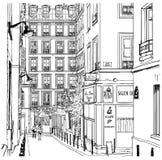 montmartre nära den paris gatan royaltyfri illustrationer