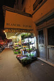 Montmartre by night. Flower shop. Paris Stock Photo
