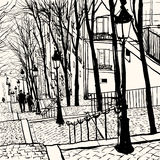 Montmartre Parijs royalty-vrije illustratie