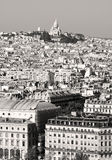 Montmartre, Paris. Black and white of montmartre with sacred heart at the summit , paris city, france Stock Photography