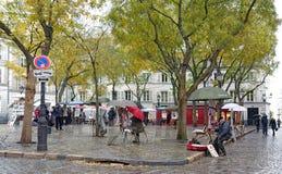 Montmartre in Paris, Frankreich an einem regnerischen Tag stockfoto