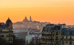 Montmartre and Paris rooftops at sunset Stock Photo