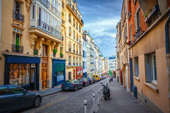Montmartre in Paris. Street in Montmartre Paris, France Stock Photo