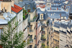 Montmartre Quarter. Roofs and balcony in residential quarter of Montmartre in Paris Royalty Free Stock Photos