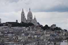 Montmartre, Sacré-CÅ 'ur, Paryż, niebo, miasto, miasteczko, atrakcja turystyczna Obrazy Stock