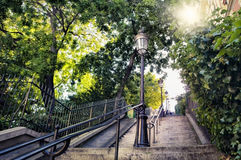 Montmartre staircase in Paris. A typical staircase with old street lamp in Montmartre (Paris, France) on a summer day Royalty Free Stock Photos