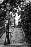 Montmartre staircase in Paris. A typical staircase with old street lamp in Montmartre (Paris, France). Black and white royalty free stock photos