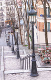 Montmartre staircase, street lamps and café in Paris. Stock Photography