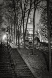 Montmartre Stairs and Basilica of the Sacred Heart, Paris Stock Photography