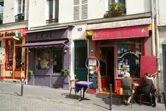 Montmartre street view restaurant boutiques Stock Images