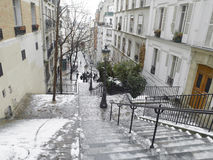 Montmartre under snow Royalty Free Stock Photo