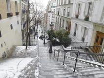 Montmartre under snow. France - Paris - Montmartre under snow Royalty Free Stock Photo