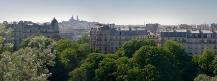 Montmartre view from parc of Buttes Chaumont Paris Stock Images