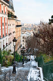 Montmartre in winter. Montmartre stairs in winter in Paris Stock Images