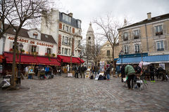 Montmatre gatakonstnärer Arkivfoton