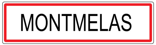 Montmelas city traffic sign illustration in France Stock Photo