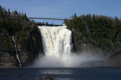 Montmorency falls. Big waterfall and little lake a lot of km to montreal Stock Images