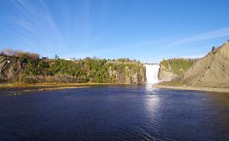 Montmorency falls. View of the highest waterfall of canada Montmorency falls in quebec Royalty Free Stock Photos