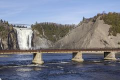 Montmorency Falls in autumn, Quebec, Canada stock images