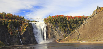 Montmorency Falls n autumn, Quebec, Canada. Montmorency Falls and Bridge in autumn with colorful trees, Quebec, Canada stock photo