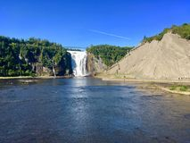 Montmorency Falls panoram, Quebec, Canada. The Montmorency Falls is a large waterfall on the Montmorency River in Quebec, Canada royalty free stock images