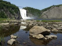 Montmorency Falls, Quebec. A downriver view of Montmorency Falls, Quebec, Canada stock photo