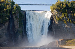 Montmorency waterfall. The Montmorency falls are trully impressive in Quebec Royalty Free Stock Image
