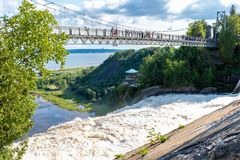 Montmorency waterfalls from the top, Quebec stock photo