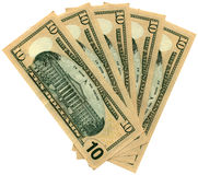 Montón de diez dólares aislados, abundancia de los ahorros Fotografía de archivo libre de regalías