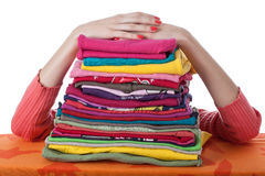Montón de la ropa dispuesta Fotos de archivo