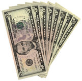 Montão de cinco dólares isolados, riqueza das economias Imagens de Stock Royalty Free