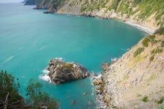 Montonaio rock bay Monasteroli    in cinque terre Stock Images