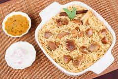 Montone Biryani con insalata Fotografia Stock
