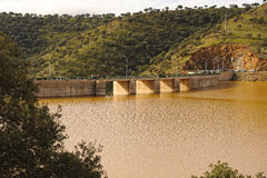 Montoro dam full after a rainy season, province of Ciudad Real, Castilla la Mancha, Spain. Royalty Free Stock Image