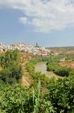 Panoramic view of Montoro and the Guadalquivir river, province of Córdoba, Andalusia, Spain. Montoro is one of the spanish villages where higher temperatures stock image