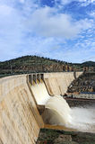 The dam of Montoro reservoir panoramic view, Ciudad Real province, Castilla la Mancha, Spain Royalty Free Stock Images