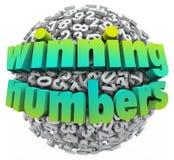 Montos totales del juego del bote de la lotería de la bola de los números que ganan Imagen de archivo